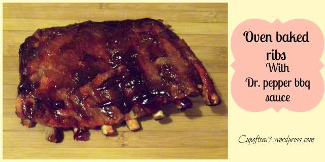 Pork oven baked ribs with dr. pepper bbq sauce