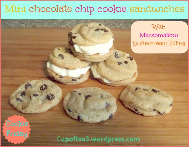 Mini chocolate chip cookies sandwiches With marshmallow buttercream filling