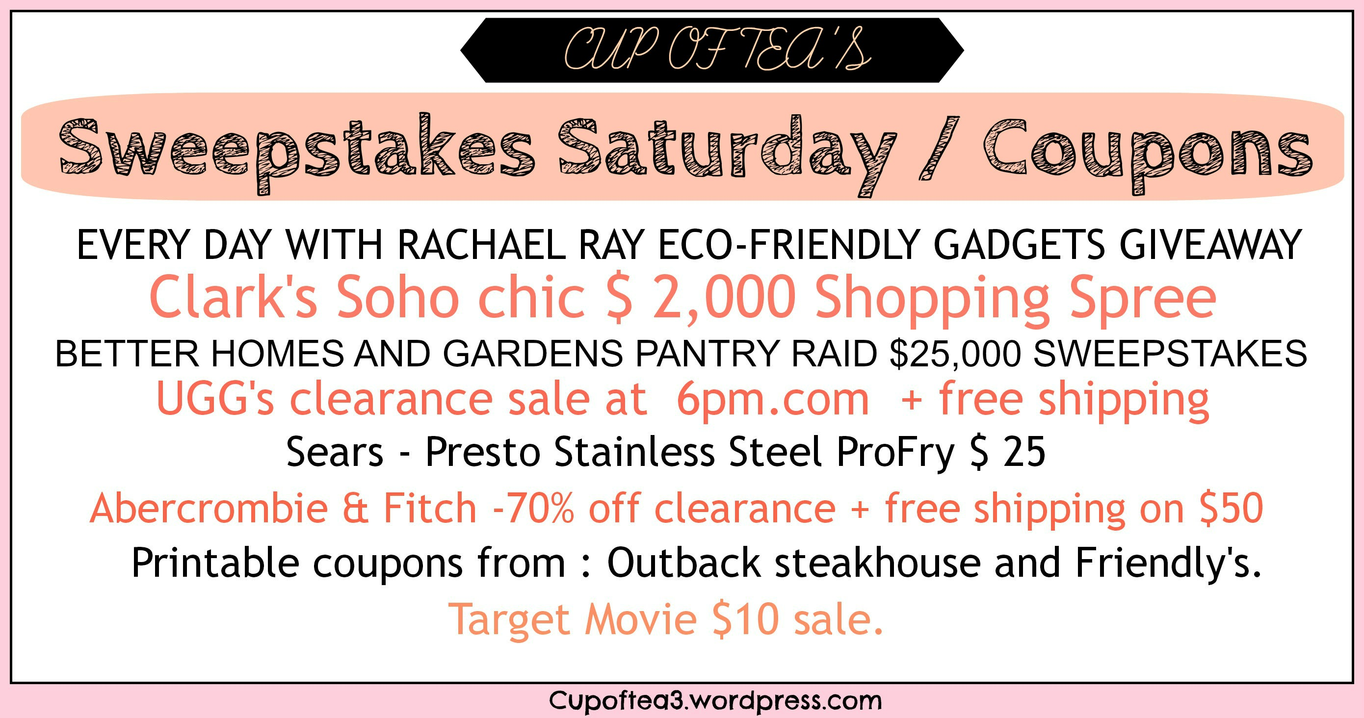 image about Outback Coupons Printable referred to as Sweepstakes Saay / Discount coupons Cup of Tea