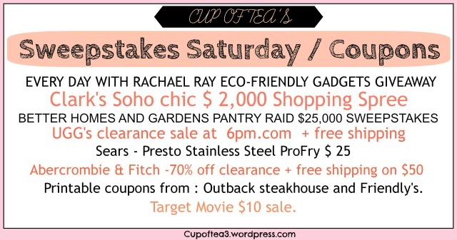 Sweepstakes Saturday /Coupons  March 22 Edition
